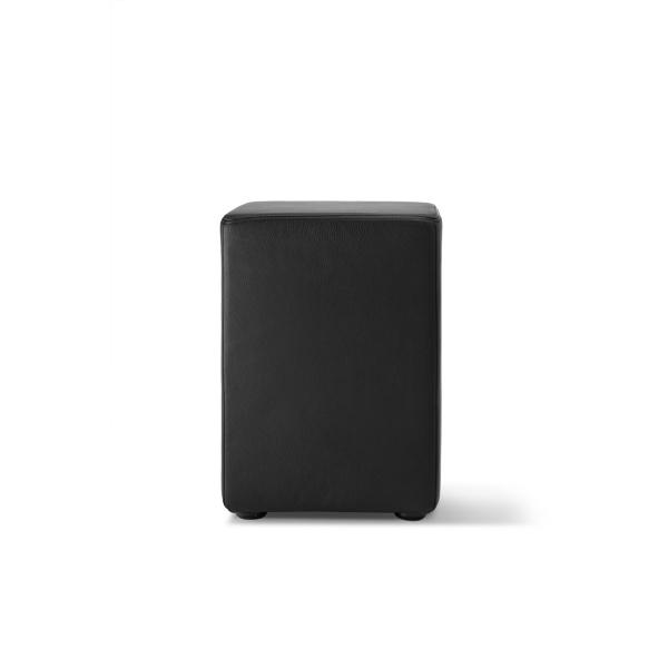 Sitzhocker Pomp Leder schwarz