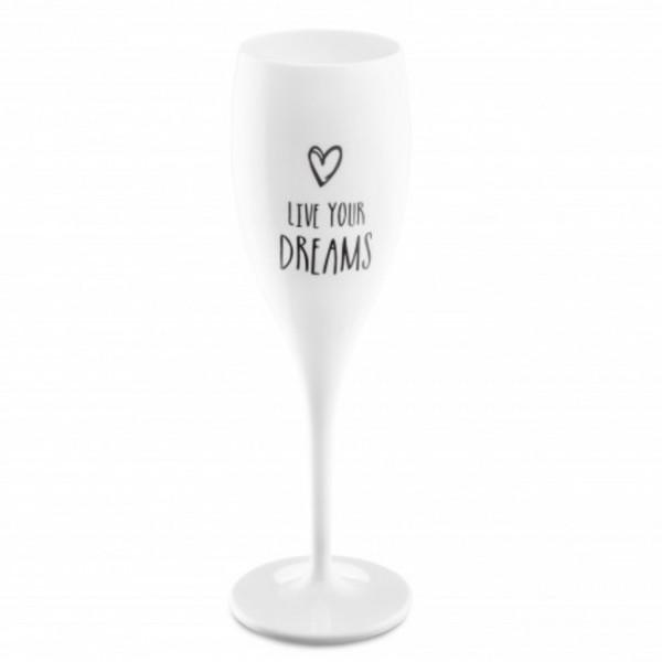 Koziol Sektglas mit Druck CHEERS LIVE YOUR DREAMS weiß 100ml 3785525