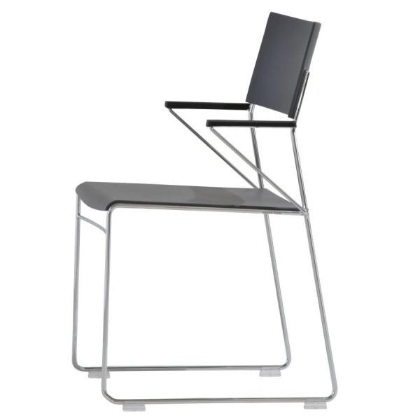 Wiesner Hager Stapelstuhl Outline mit AL, Kunststoff, Sitzpolster 6875_101 konfigurierbar