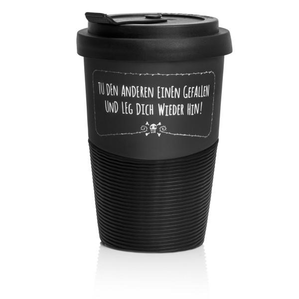 """PECHKEKS® Coffee-to-go Becher """"Leg dich wieder hin"""" schwarz 2501001"""