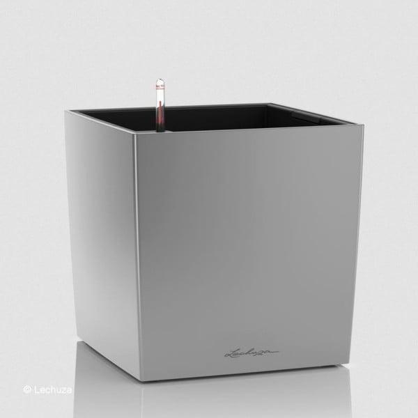 Lechuza Pflanztrog Cube 50 silber metallic 16568