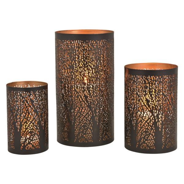 Windlicht Baum Dekor aus Metall Schwarz 3er Set 10030098