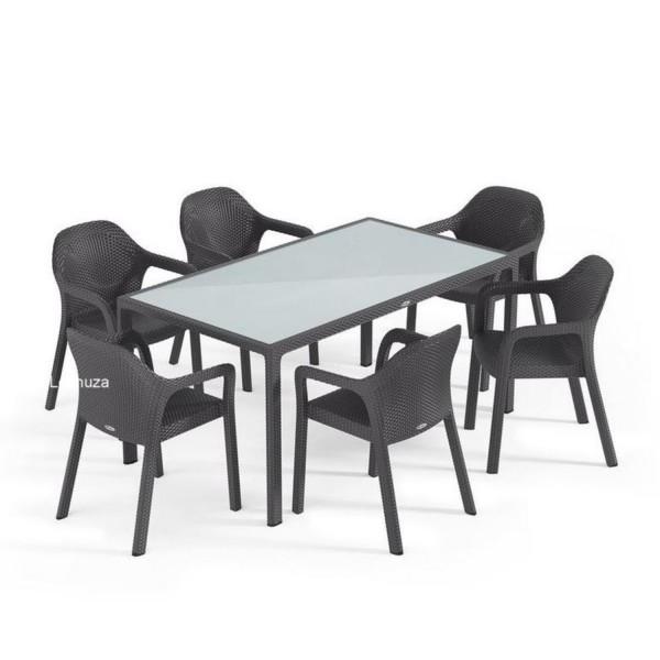 Lechuza Gartengruppe 7er-Set / Tisch 160x90cm granit 10933SG