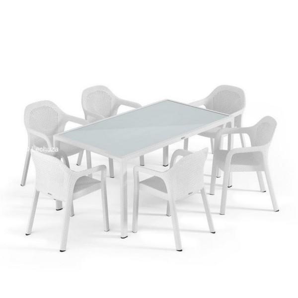 Lechuza Gartengruppe 7er-Set / Tisch 160x90cm weiß 10930SW