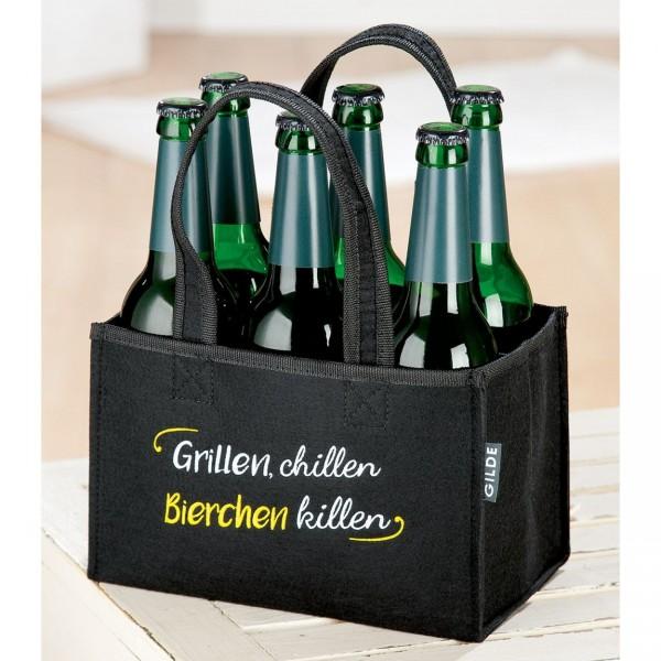 """6er Flaschenträger """"Grillen, Chillen..."""" Filz schwarz 49924"""