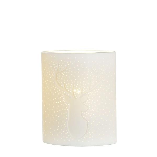 GILDE Porzellan Lampe Ellipse Hirsch weiß 20cm 32823