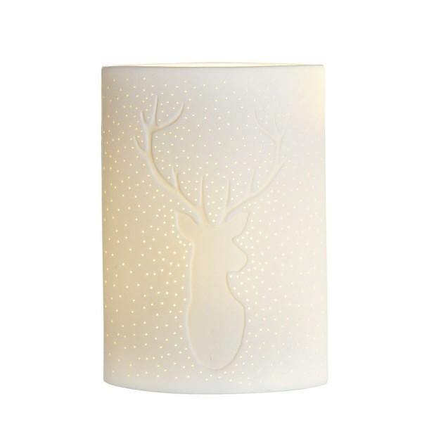 GILDE Porzellan Lampe Ellipse Hirsch weiß 26cm 32824