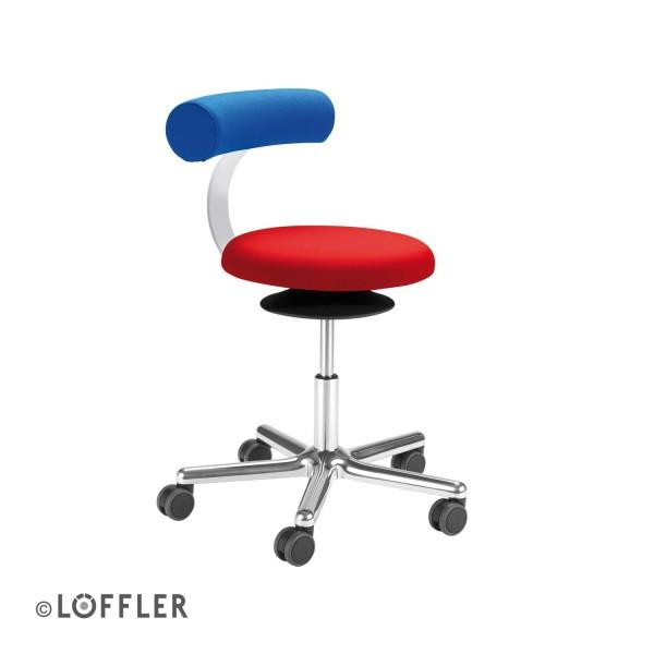 Löffler AOGO Sitzhocker mit Rückenlehne Fußkreuz Typ E