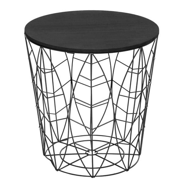Atmosphera Créateur d'intérieur® KUMI Beistelltisch Kaffeetisch Metall Blatt schwarz