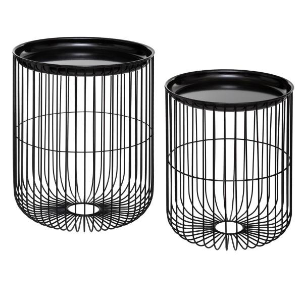 Atmosphera Créateur d'intérieur® Beistelltisch Kaffeetisch Metall schwarz 2er Set