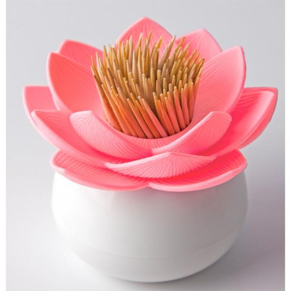 Zahnstocherspender Lotus weiss pink QL10156wp