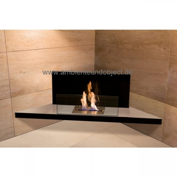 Kamin Corner Flame Edelstahl Glas schwarz 542b