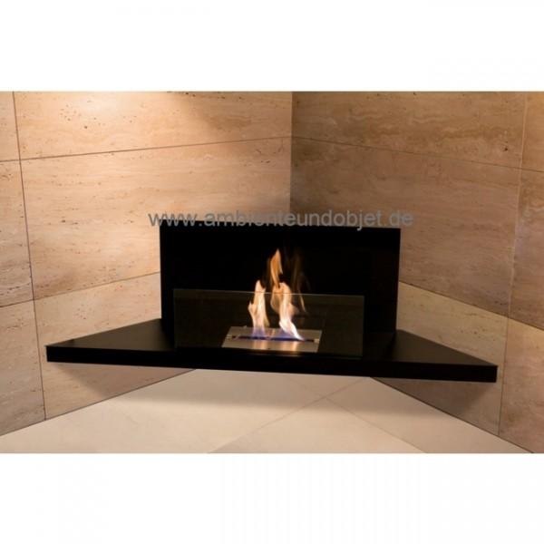 Kamin Corner Flame Stahl Glas schwarz 543b
