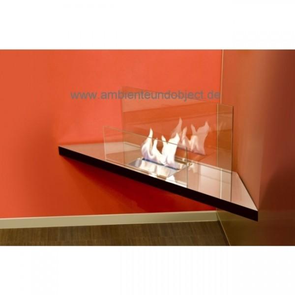 Kamin Corner Flame Edelstahl hochglanzpoliert Glas klar 548a