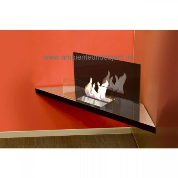 Kamin Corner Flame Edelstahl hochglanzpoliert Glas schwarz 548b
