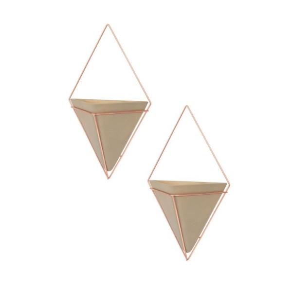 Umbra Trigg Wandvase klein 2er Set beton/kupfer 470753-633
