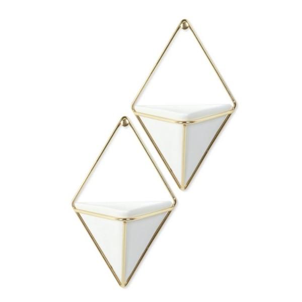 Umbra Trigg Wandvase klein 2er Set weiß/gold 470753-524