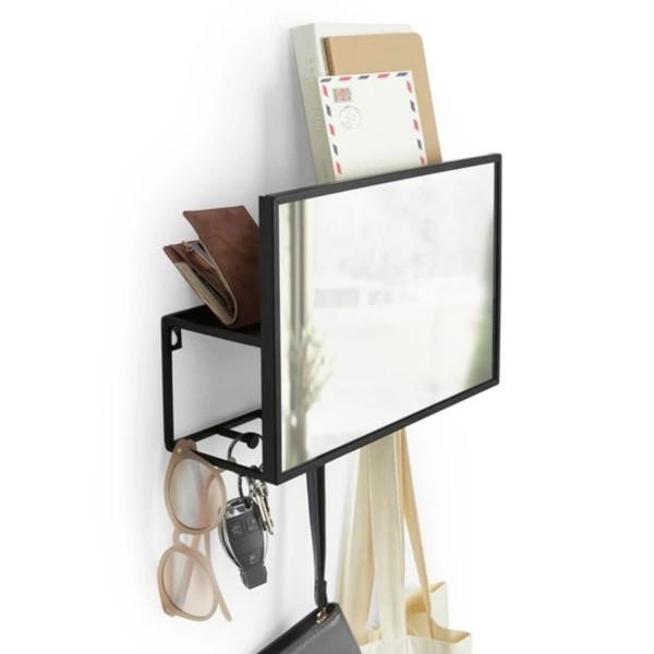 Umbra Wandspiegel mit Ablage Cubiko Organizer schwarz 1012828-040