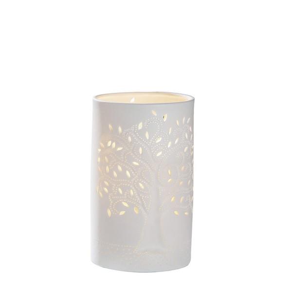 GILDE Porzellan Lampe Zyl. Lebensbaum weiß 20cm 34919